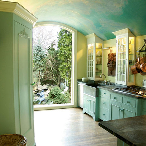 Kitchen With Green Walls: Beautiful Sky Blue Kitchen + Painted Cabinets + Soft Green