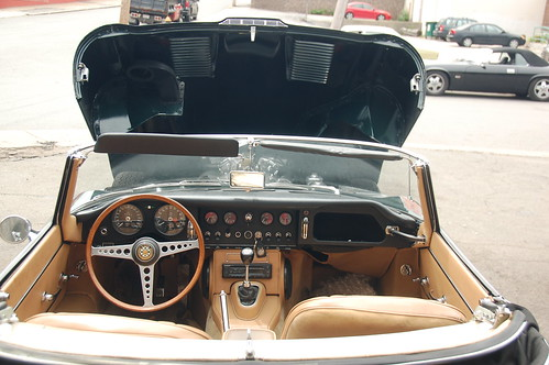 Jaguar E-Type 4.2 at Samuel's in Allston: Cockpit view with the hood open | by Chris Devers