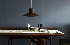 gray wall, wood table | by Anna @ D16