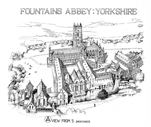 Fountains Abbey: reconstruction rendering of aerial view | by Penn State Libraries Pictures Collection
