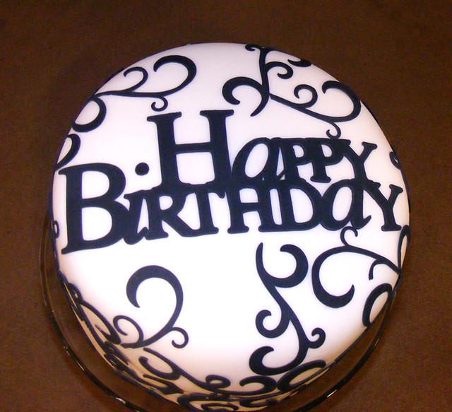 Elegant Birthday Cake Fondant covered with gum paste desig Flickr