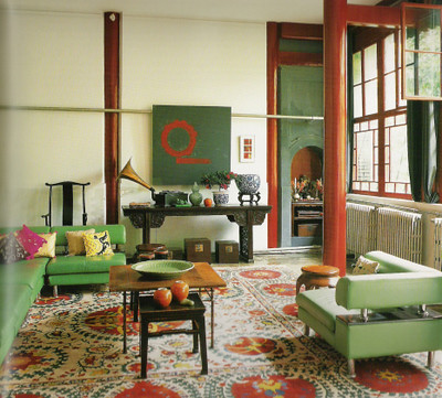 Modern Mix In Beijing Red Green Living Room By Jehanne Part 6