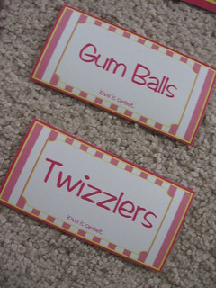Pink Striped Custom Tags/Labels for Wedding Candy Buffet | by Weddings*n*Whimsy