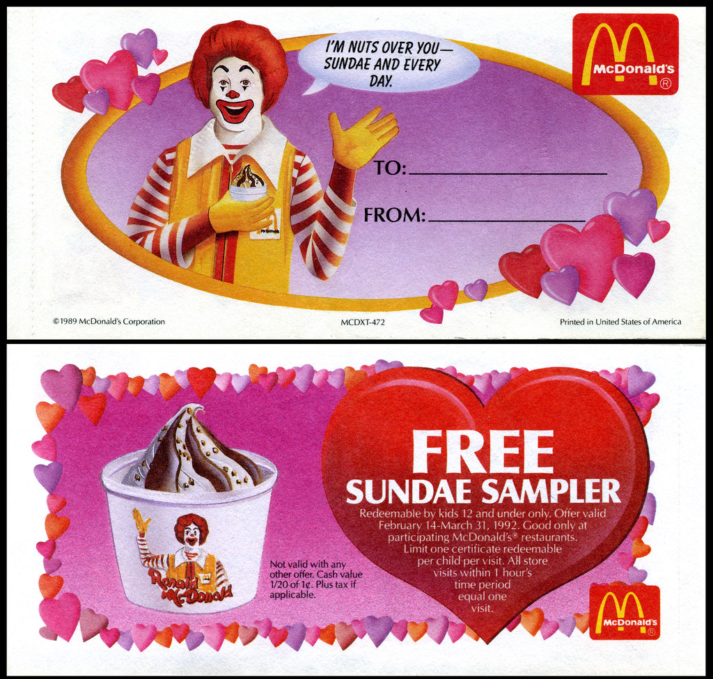 McDonalds Valentine's Day Gift Certificates - 1992 - Ronal… | Flickr