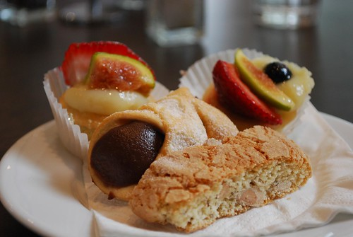 Almond Biscotti, Chocolate Canoli, Fruit Tartlets - Cafe Moretti AUD2 each | by avlxyz