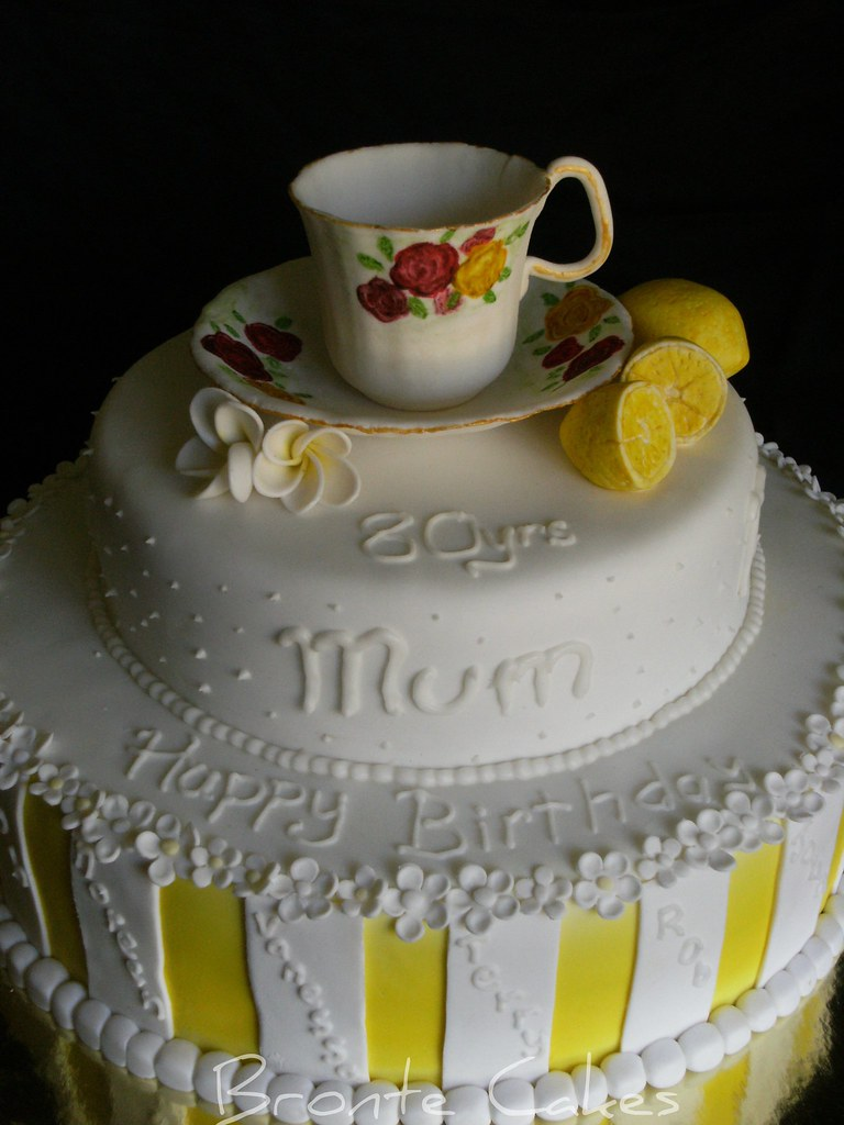 Tea Cup 80th Birthday Cake Huge 12inch Base With 9inch Top Flickr