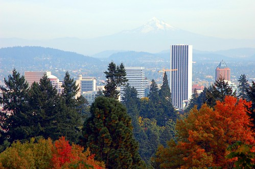Portland skyline taken on a perfect october day at the - Portland japanese garden free day ...