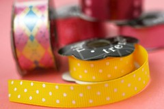 Yellow polka-dot ribbon | by Bakerella