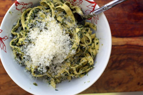 pasta with ramps and stinging nettles pesto | by sassyradish