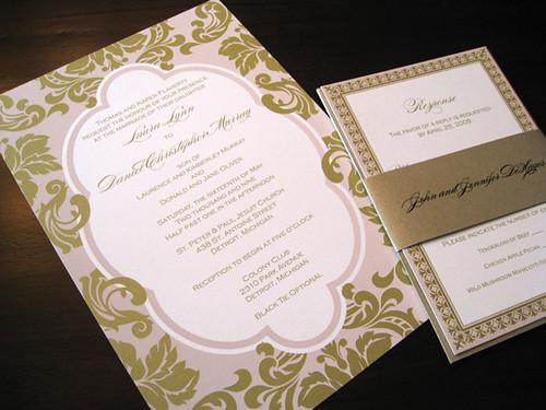 Plush Paper Pink Gold Wedding Invitations Www Plushpaper