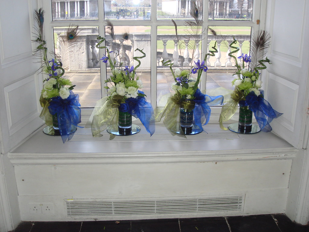 Green White And Blue Wedding Flower Arrangement3 Flickr