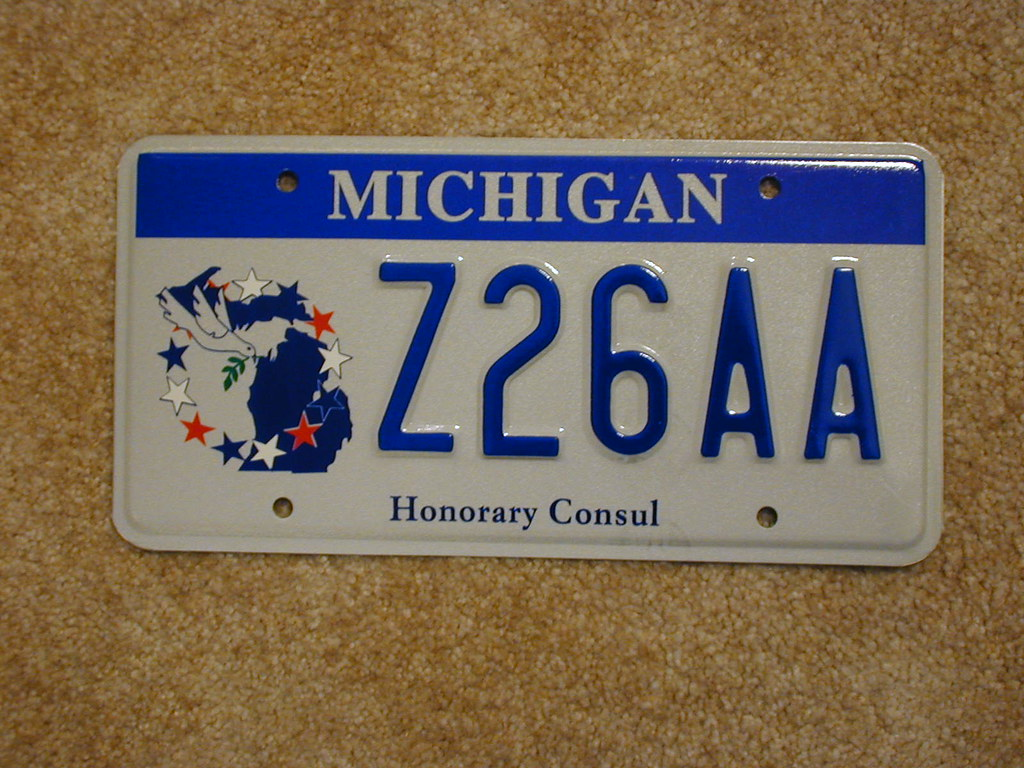 Michigan Honorary Consul License plate | Issued in pairs, th… | Flickr