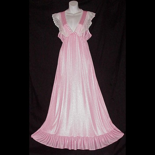 Ultra Fem Nylon Floor Length Vintage Perfect Pink Nightgow