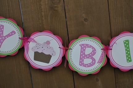 getthepartystarted2011 hot pink and green cupcake happy birthday banner by getthepartystarted2011