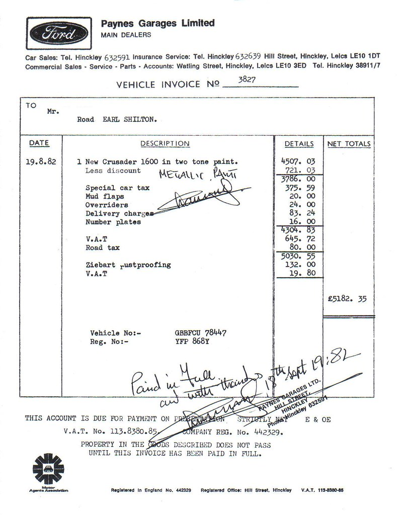 1982 receipt new ford cortina crusader paynes garage hin flickr
