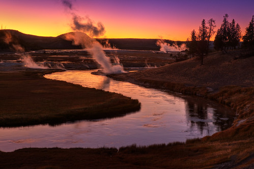"Twilight along the Firehole - Yellowstone | by IronRodArt - Royce Bair (""Star Shooter"")"
