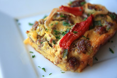 Sausage & Red Pepper Strata | by The Noshery