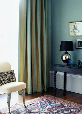 Blue living room + blue-green striped curtains + animal print | by SarahKaron