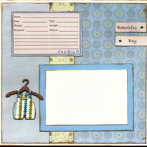 Baby Boy Birth Announcement Scrapbook Page A 12x12 Inch
