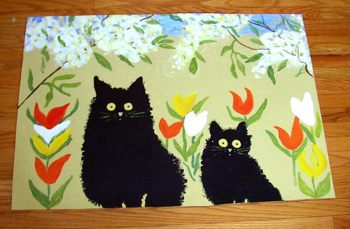 Floor cloth black cats two black cats surrounded by for Painted vinyl floor cloth