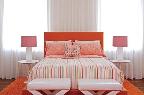 Colorful, modern bedroom: Pink + orange + white + Saarinen… | Flickr
