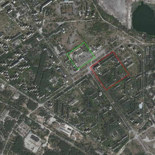 Pripyat Satellite View Google Maps Image Centered Over