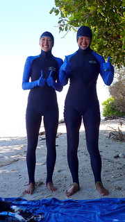 hope and jasmo in stinger suits, fitzroy island | by hopemeng