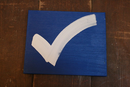 white check mark on blue - acrylic on canvas | by kylemac