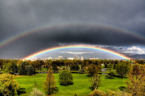 Boise downtown, framed by a rainbow. - HDR | by Kevin Rank