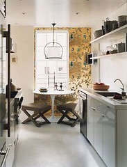 Ideas for small spaces: White galley kitchen + Saarinen table + X-stools + wallpaper | by SarahKaron