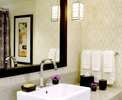 Modern Wallpaper Neutral Geometric Print Posh Hotel Bathroom By Sarahkaron