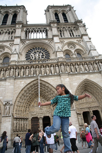 Gwen strikes a pose at the Notre Dame Cathedral | by Donna & Andrew