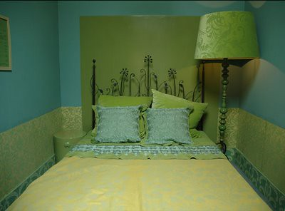 blue and green bedroom.  Ideas for small spaces Bold cheerful blue green bedroom damask wallpaper bedroo Flickr