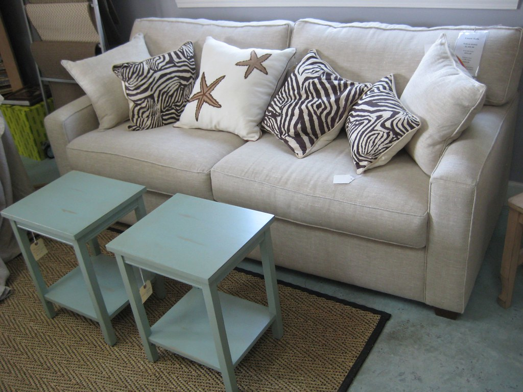 Modern sofa in natural linen by designfolly com
