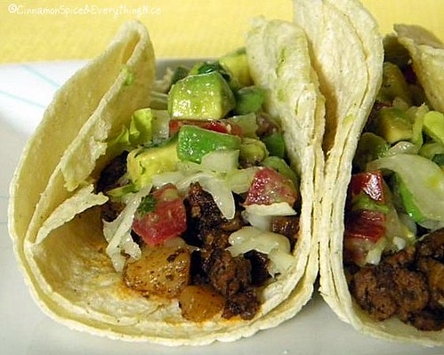 Pan-Fried Potato and Beef Tacos with Avocado Salsa | by CinnamonKitchn