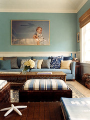 Duck Egg Blue Living Room With Wainscot