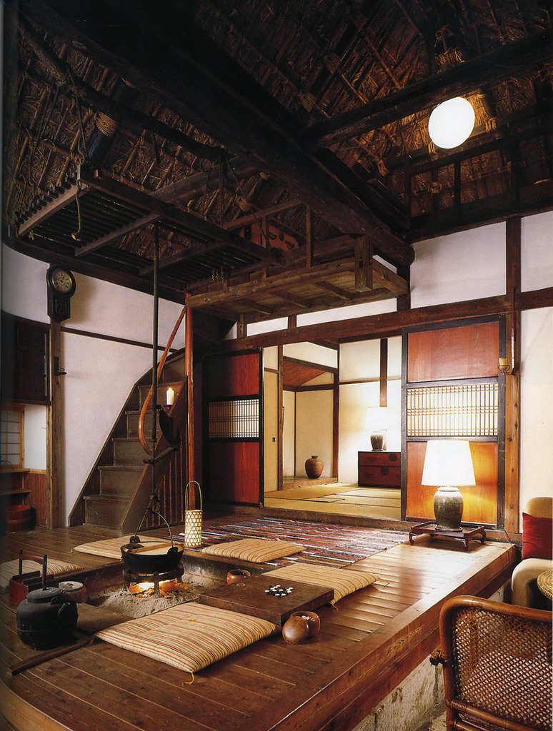 ... Interior Of Japanese Country House, With Central Fire Pit And Thatched  Ceiling | By Ouno