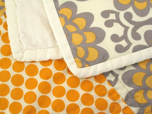 Orange and gray stroller quilt | by Pear Tree Stitching