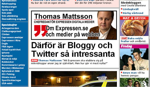 Thomas Mattsson on Bloggy and Twitter in Expressen.se | by Citizen Media Watch