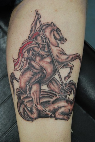 st george and dragon tattoo tattooed by johnny at the tat flickr. Black Bedroom Furniture Sets. Home Design Ideas