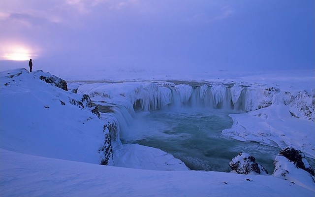 Go afoss waterfall winter iceland sunset at go afoss for Trodel mobel