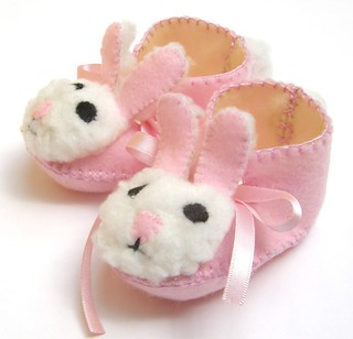 light pink and cream mrs bunny baby girl booties | by Funky Shapes