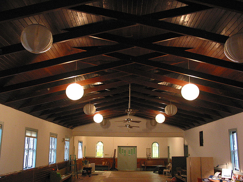 Dark ceiling, before sanding | This view shows the view from… | Flickr