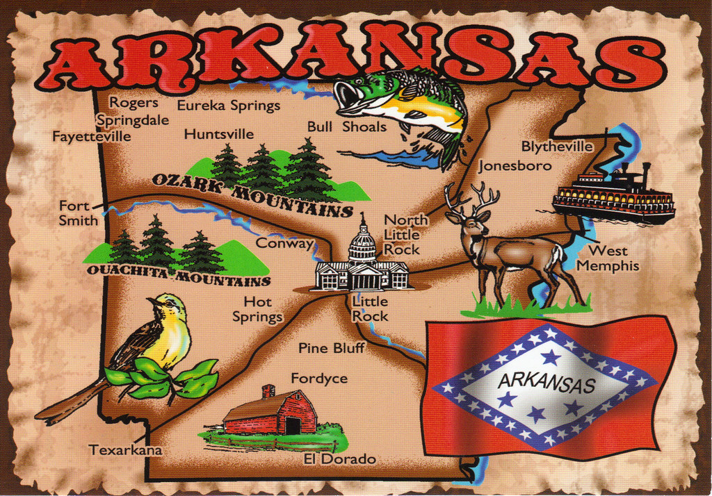 Arkansas State Map Postcard Arkansas Became The Th State Flickr - Map of the state of arkansas