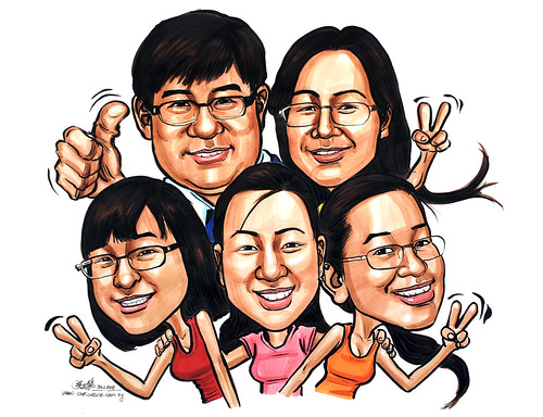 family caricatures in colour 311208 | by jit@portraitworkshop.com