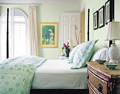 Lovely pale green + white bedroom: 'Parsley Tint' by Porter Paints | by SarahKaron