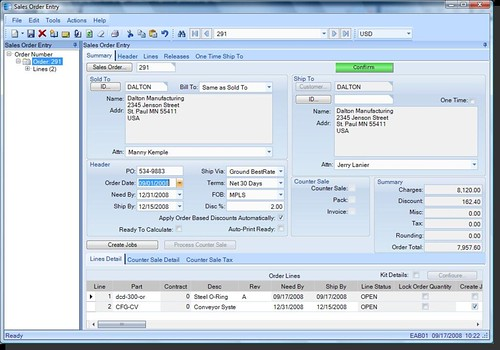Epicor C Net Smart Client Sales Order Entry Form Epicor