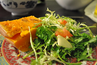 roasted butternut squash with pear arrugula frisée with garlic lemon vinegrette dressing | by plate of the day