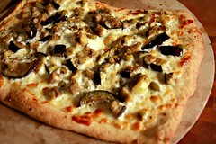 Eggplant and Green Olive Pizza | by The Noshery