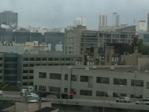 In my office. I can see the giant Apple logo on the side of Moscone West from here. | by jsnell